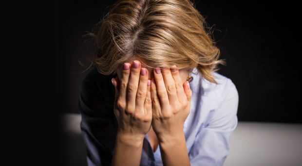 Subjected to abuse. Stock image posed by model