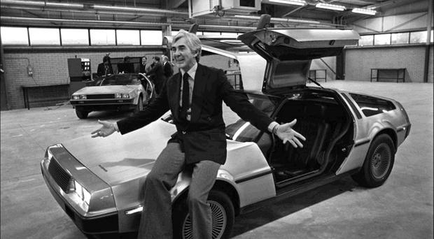 John DeLorean at his Dunmurry car factory with a The DMC-12, known simply as the DeLorean. Inset: with his wife Christine Ferrare