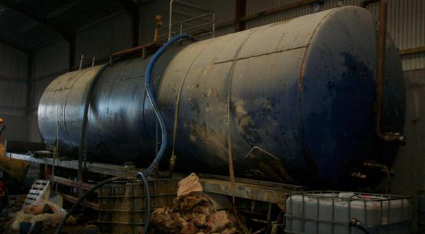 The large diesel laundering plant discovered at Kilnasaggart Road in the Jonesborough area in January 2013