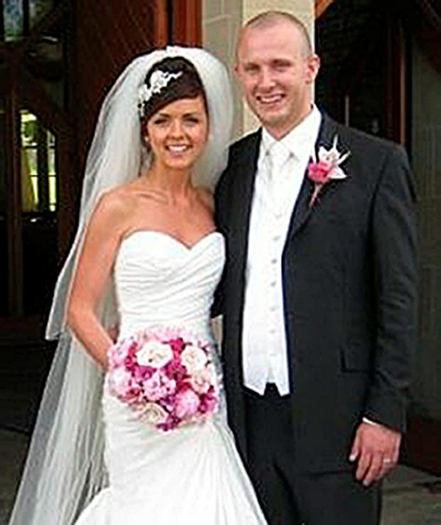 Kevin Carey with his wife, Natasha on their wedding day
