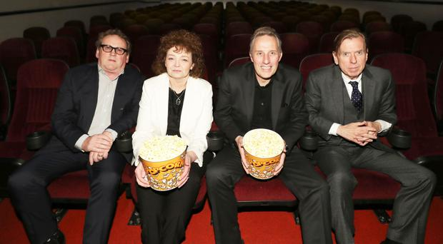 Colm Meaney, Sinn Fein's Caral ni Chuilin, DUP MP Ian Paisley and Timothy Spall at last night's premiere of The Journey