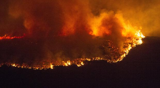 Flames and smoke from a massive gorse fire that broke out on Slieve Brack mountain in Co Armagh close to Forkhill village (2016)