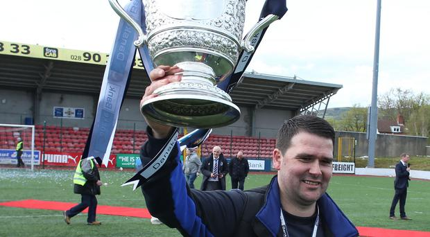 Linfield manager David Healy with the Gibson Cup