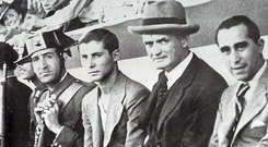 Patrick O'Connell (second from right) on the bench