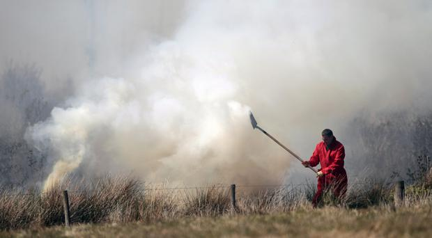 Members of the Fire Service tackle gorse fires near Brookebrough