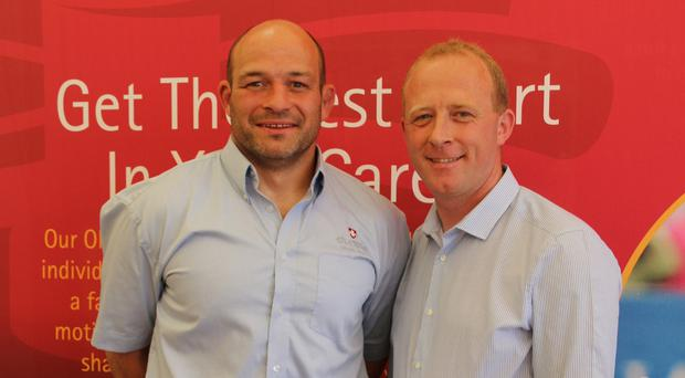 Ireland rugby captain Rory Best with William Sayers at Balmoral yesterday