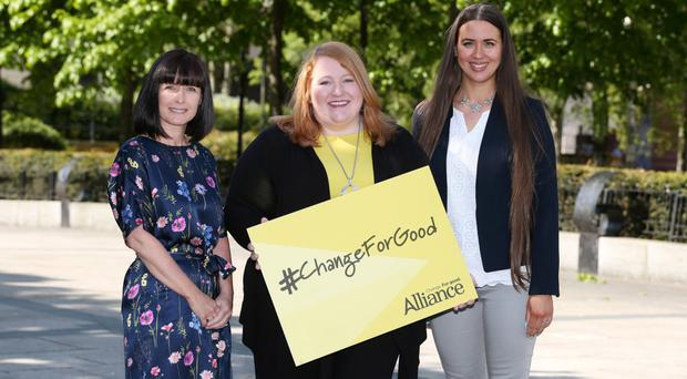 Alliance party leader Naomi Long with Paula Bradshaw (left) and Sorcha Eastwood