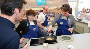 DUP leader Arlene Foster and MEP Diane Dodds cooking at Balmoral yesterday