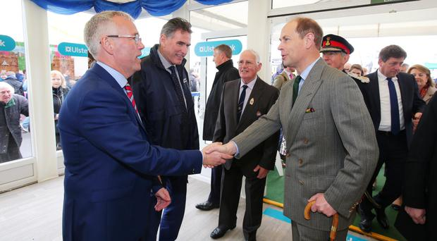Prince Edward, Earl of Wessex, at the Balmoral Show yesterday with Ross McEwan (centre), Chief Executive of the Ulster Bank parent brand RBS, and Richard Donnan (left), Ulster Bank's Head of Northern Ireland