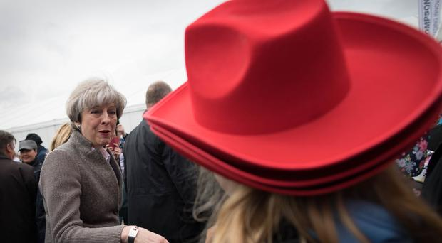Prime Minister Theresa May visits a farming show near Lisburn in Northern Ireland