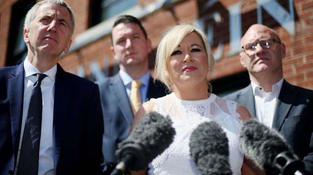 Sinn Fein's Northern Ireland leader Michelle O'Neill held a press conference with candidates Mairtin O Muilleoir, John Finucane and Paul Maskey