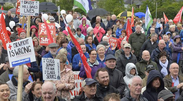 Members of the public, politicians and unions at the protest in Newry against cuts at Daisy Hill Hospital