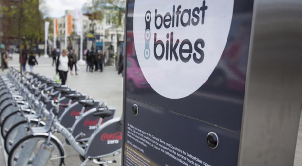 A row of Belfast Bikes in the city centre