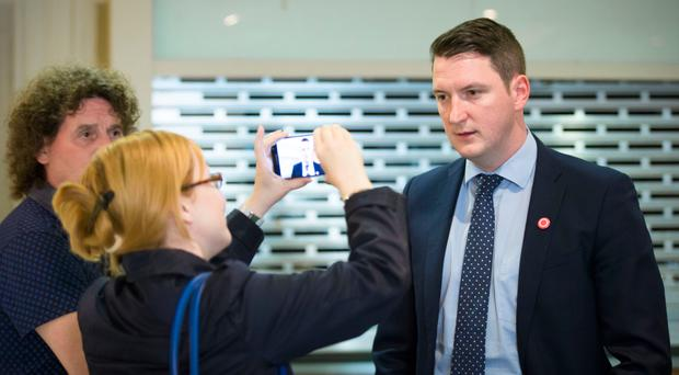 John Finucane speaks to the media yesterday.