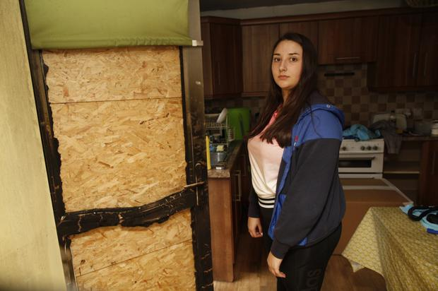 Bryanne in her damaged Carrowdore home