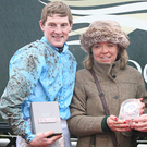 Lady Jane Gillespie and jockey Ger Fox receiving their prizes after Coney Choice won at Down Royal in 2014