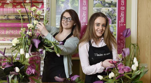 Clare McAuley from Comber and Eilis Quinn from Camlough in the final of the RHS Young Chelsea Florist of the Year.