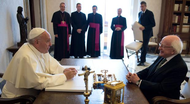 Pope Francis talks with President Higgins during a private audience in Vatican. Photo: AFP