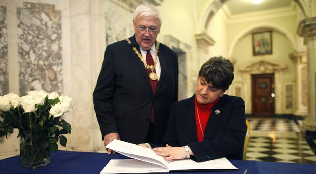 DUP leader Arlene Foster was also at City Hall to sign the book in a show of solidarity with the city
