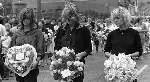 Bananarama at the funeral of Thomas Reilly in Belfast in1983