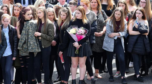 Mourners at Caitlin White's funeral on Wednesday