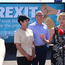Martina Anderson launching an anti-Brexit billboard yesterday