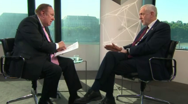 Jeremy Corbyn (right) being interviewed by Andrew Neil
