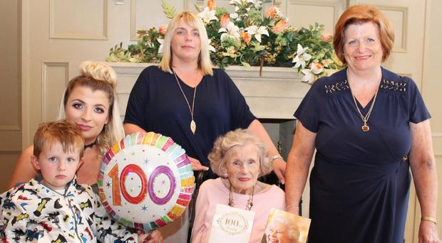 Five generations mark the 100th birthday of Gwen Parkhill from Coleraine, with daughter Grace Graham (right), granddaughter Cheryl Culbertson (centre), great granddaughter Paige Walker (seated) and great great grandson Kai Linton