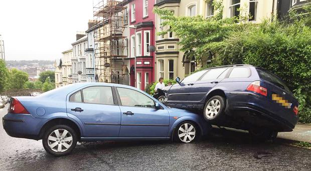 The two cars after the crash in Crawford Square on Saturday