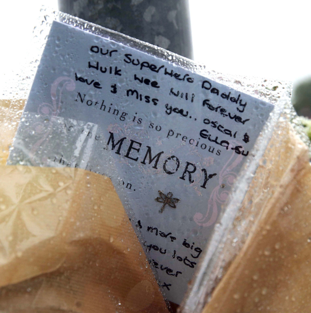 A sympathy message left at the scene of his death