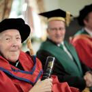 Fr Harry Coyle was awarded an honorary doctorate by Ulster University yesterday in recognition of his lifetime of achievements in Irish language teaching and scholarship