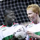 Afriyie Acquah with Glentoran under-15 team-mate Conor McGrattan at a training session