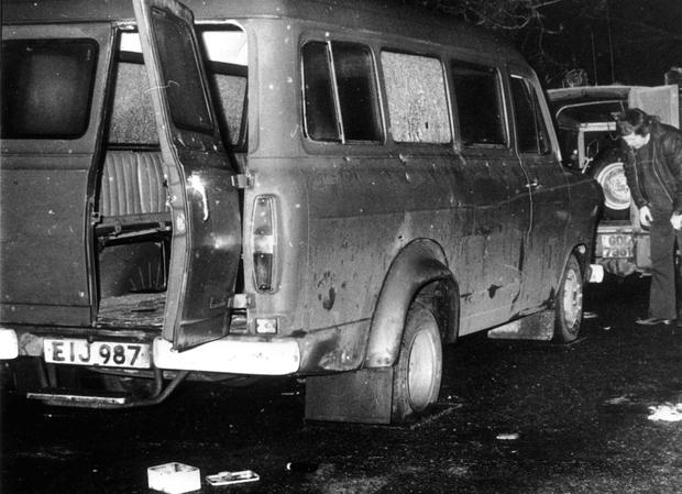 The bullet-riddled van at Kingsmill in which 10 men died in 1976