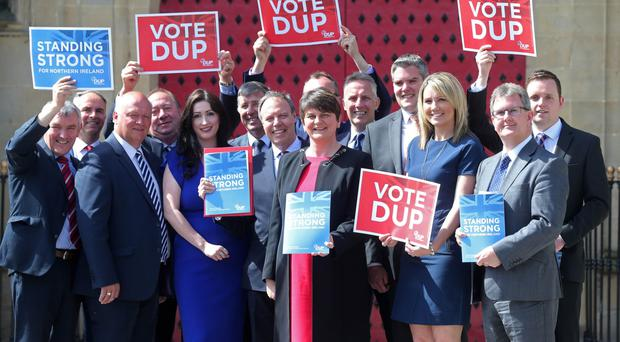 DUP leader Arlene Foster with her party's candidates launch their manifesto in Antrim