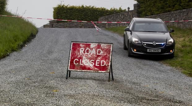 The Bog Road close to Mullaghbawn which was closed following the death of a road worker yesterday