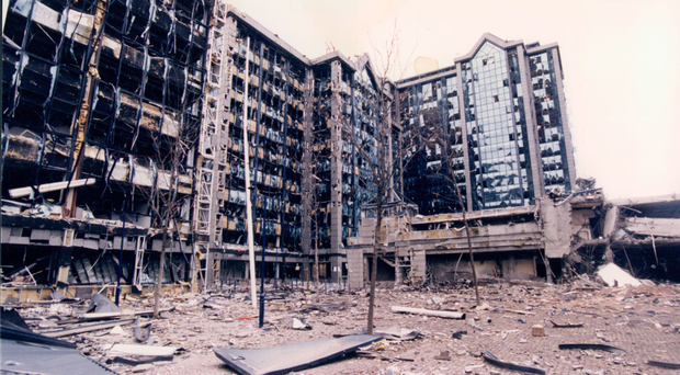 The devastation caused by the IRA's 1996 London Docklands bombing