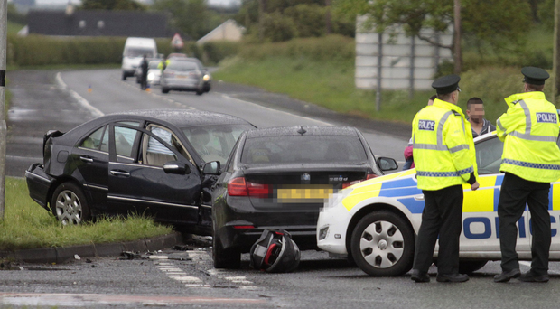 The scene of a two-vehicle RTC at Ballybogey Road between Ballymoney and Portrush yesterday afternoon