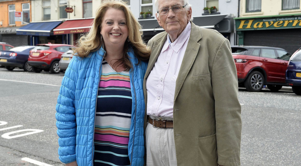 Former SDLP deputy leader Seamus Mallon with MLA Sinead Bradley on the campaign trail in Warrenpoint