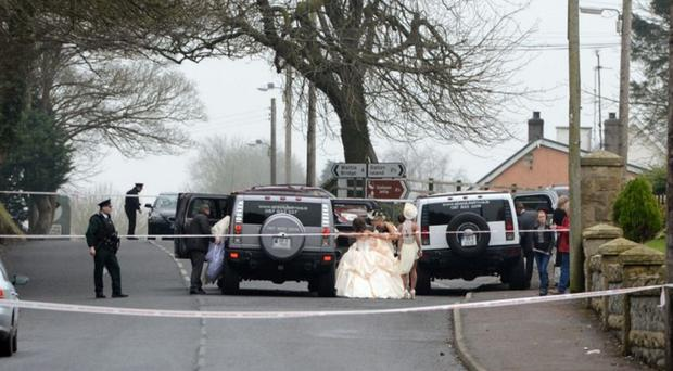 Police at the scene of Bernard McGinley's shooting at a wedding in 2015