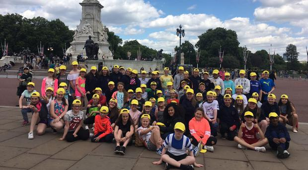Staff and pupils from St Francis' Primary School in Lurgan enjoying their trip to London