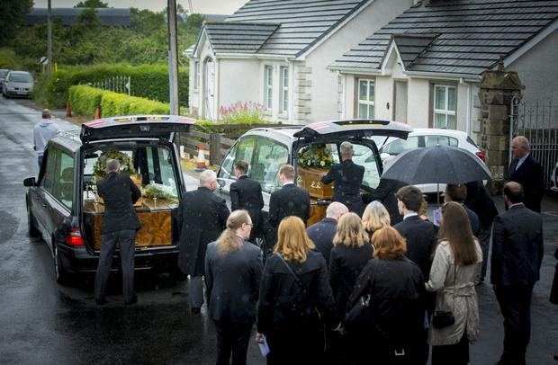 The funeral of elderly couple Marjorie and Michael Cawdery at Drumcree Church, Portadown