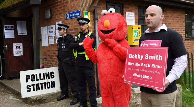 Bobby Smith at the polling station in Sonning