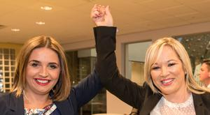 Sinn Fein's Elisha McCallion celebrates with party leader Michelle O'Neill