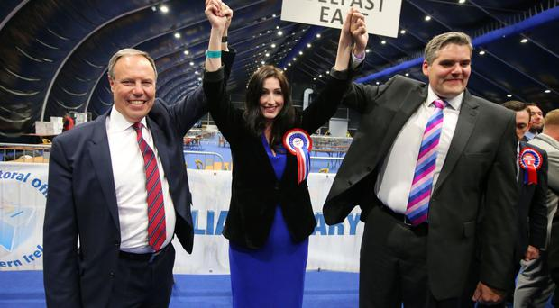 Emma Little Pengelly celebrates with Nigel Dodds and Gavin Robinson