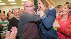 Sinn Fein's Elisha McCallion celebrates winning in Foyle