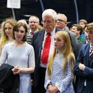 Alasdair McDonnell with his wife and family pictured at the election count at Titanic Exhibition Centre Belfast for Belfast South, Belfast West, Belfast East and Belfast North