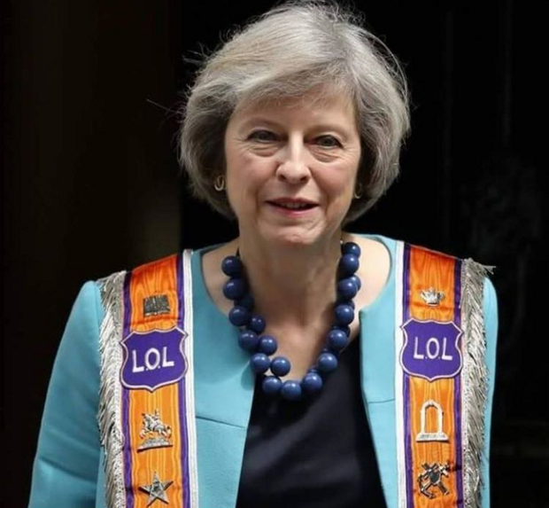 Mock-ups of Theresa May in a Sash