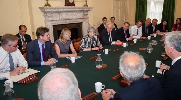 Prime Minister Theresa May holds the first Cabinet meeting with her reshuffled team at 10 Downing Street