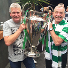 Brendan Rodgers' cousin Kieran McMullan (left) and uncle Derek Rodgers with the European Cup