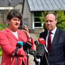 DUP leader Arlene Foster and deputy leader Nigel Dodds at Stormont Castle as the Stormont assembly power-sharing negotiations reconvene